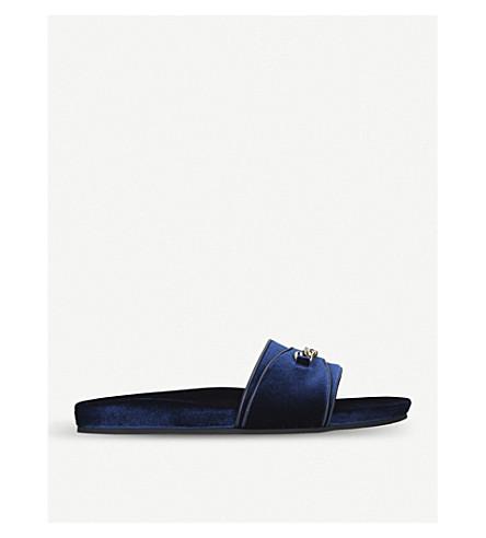 TOM FORD Churchill chain velvet slides (Blue