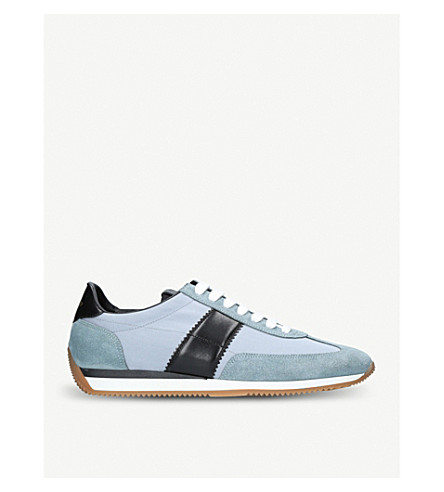TOM FORD Orford canvas and leather trainers (Blue