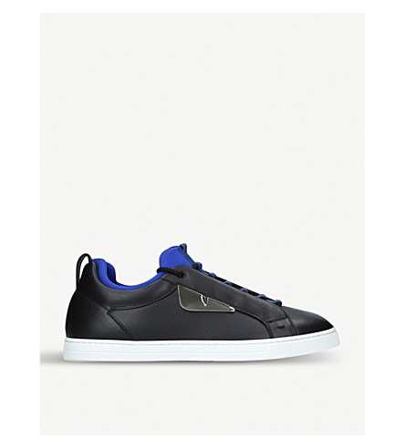 FENDI Monster leather trainers (Blk/white