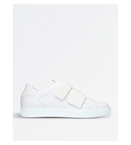 FENDI Strap leather trainers (White