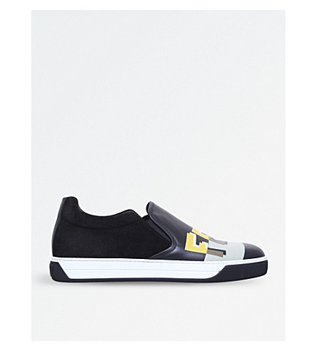 FENDI Logo-print leather and suede skate shoes (Black/comb