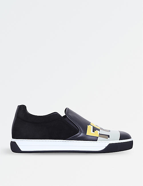 FENDI Logo-print leather and suede skate shoes