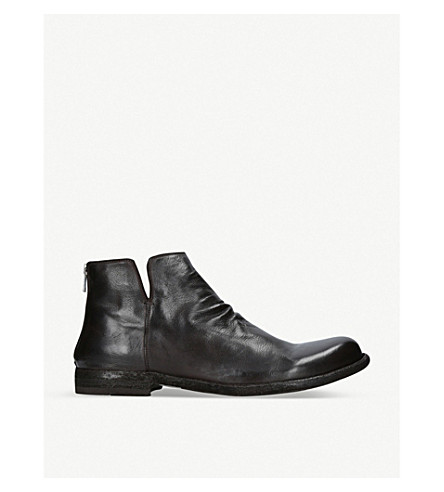 OFFICINE CREATIVE Ideal zip leather ankle boots (Dark+brown
