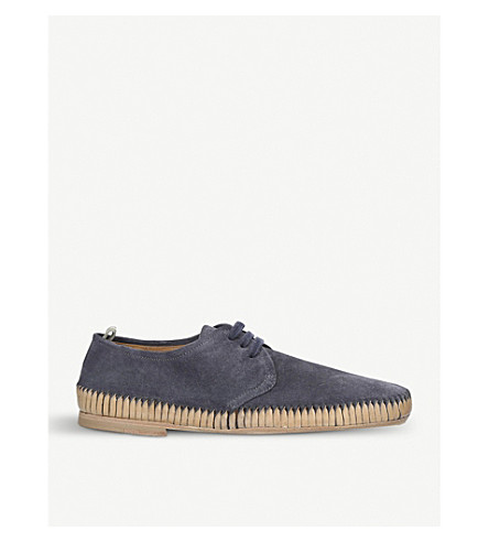 OFFICINE CREATIVE Maurice suede woven derby shoes (Blue