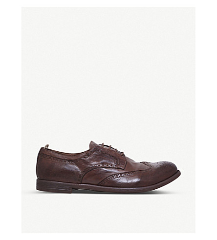 OFFICINE CREATIVE Perforated leather Derby brogues (Tan