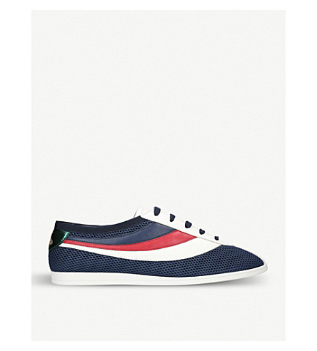 GUCCI Competition mesh and leather trainers (Blue+other