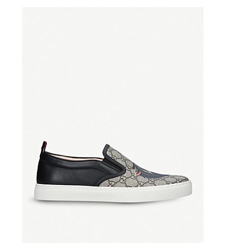 GUCCI Dublin wolf-print canvas skate shoes (Brown/oth