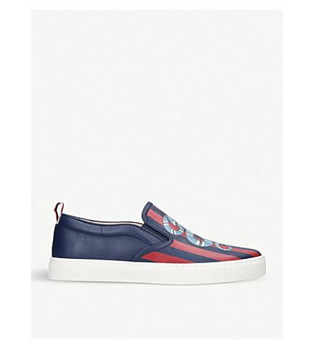 GUCCI Dublin snake-print leather skate shoes (Blue+other