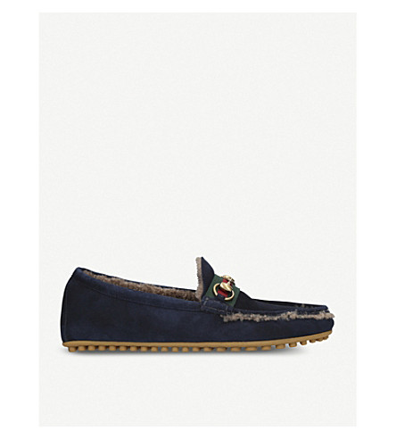 GUCCI Kanye suede and shearling driving shoes (Navy