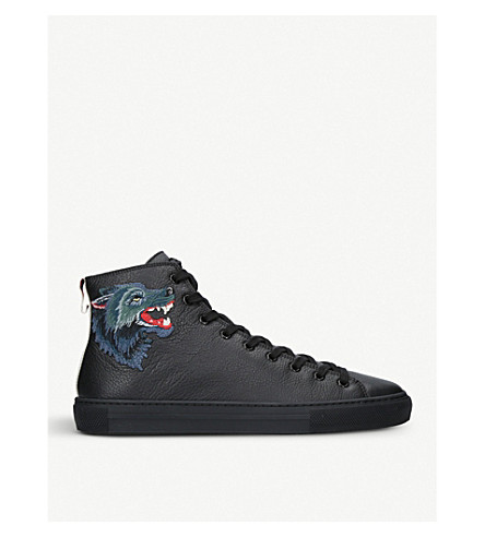 GUCCI Major wolf-embroidered leather high-top trainers (Black