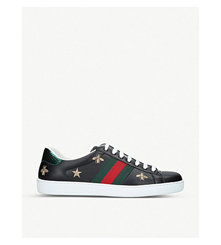 GUCCI New Ace bee-embroidered leather trainers (Black
