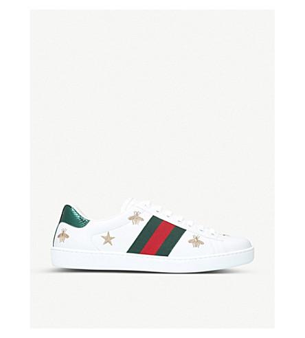 GUCCI New Ace bee-embroidered leather trainers (White