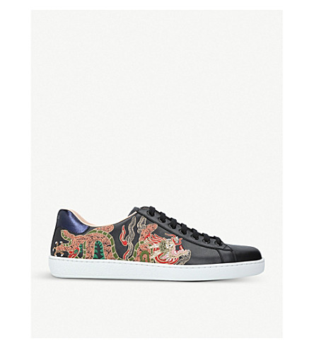 GUCCI New Ace embroidered leather low-top trainers (Black