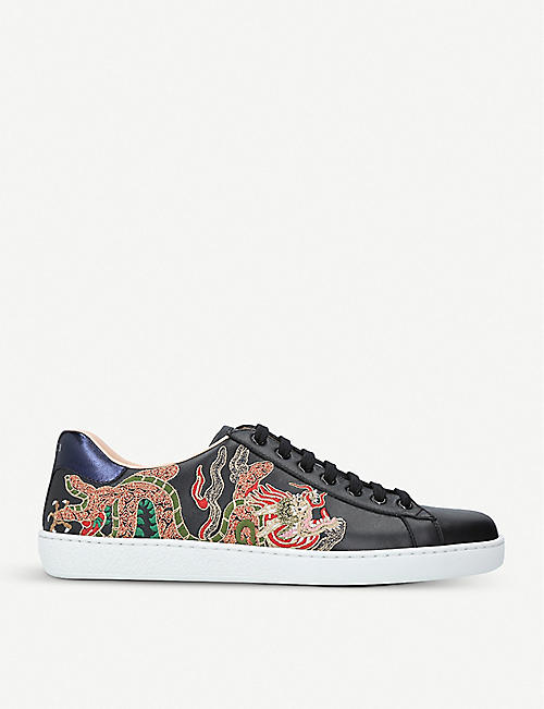 GUCCI New Ace embroidered leather low-top trainers
