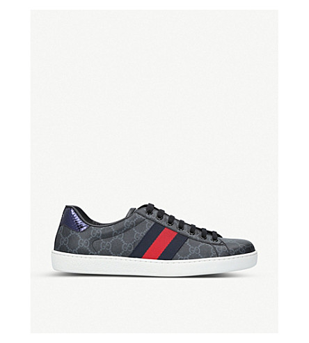 GUCCI New Ace GG canvas trainers (Blk/grey