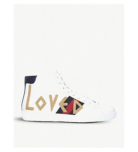 GUCCI New Ace embroidered leather high-top trainers (White