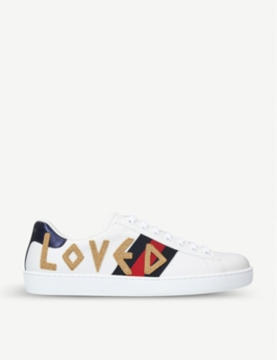 Gucci Ace Embroidered Leather Sneakers - White Size 9.5 M In Blue