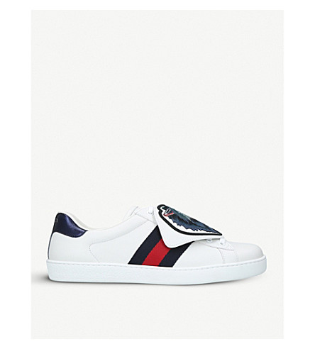 GUCCI New Ace wolf-patch leather trainers (White/oth