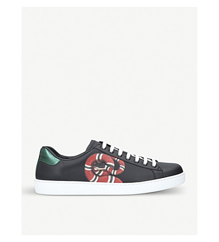 GUCCI New Ace embroidered-snake leather trainers (Black