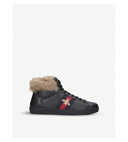 GUCCI New Ace shearling-lined leather high-top trainers (Black