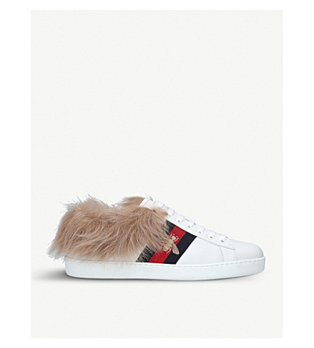 GUCCI Mens New Ace shearling-lined leather trainers (White