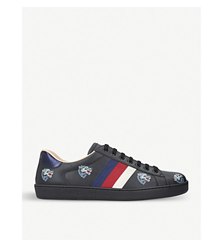GUCCI New Ace wolf-embroidered leather trainers (Blk/blue