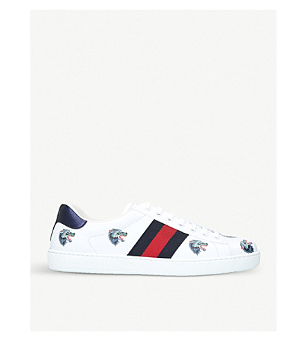 GUCCI New Ace wolf-embroidered leather trainers (White/oth