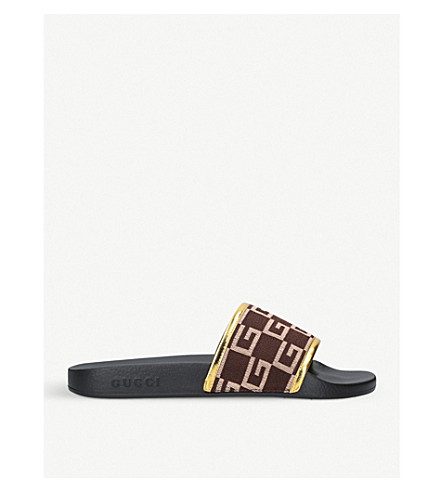 GUCCI Pursuit GG rubber sliders (Brown/oth