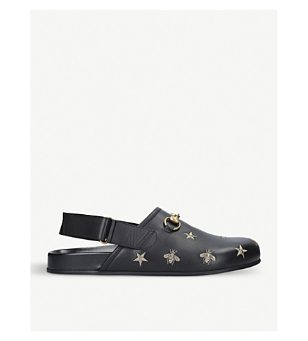 GUCCI River embroidered leather sliders (Blk/other