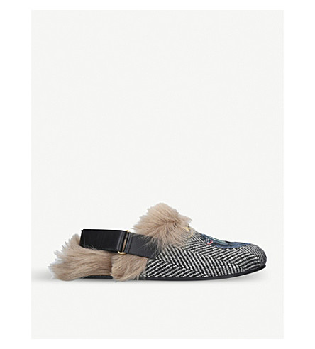 GUCCI River wolf-embroidered leather and shearling slippers (Mult/other