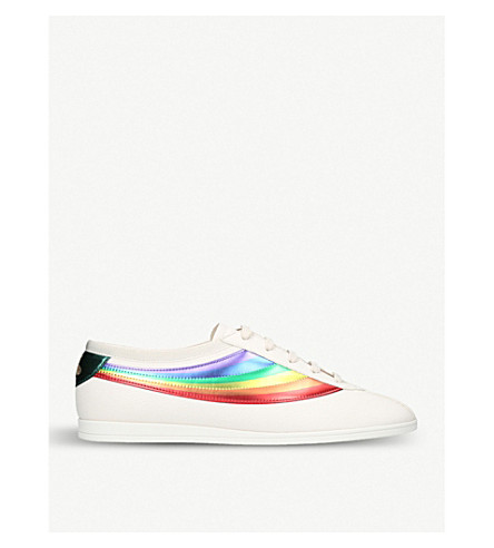 GUCCI Competition Rainbow leather low-top trainers (White/comb