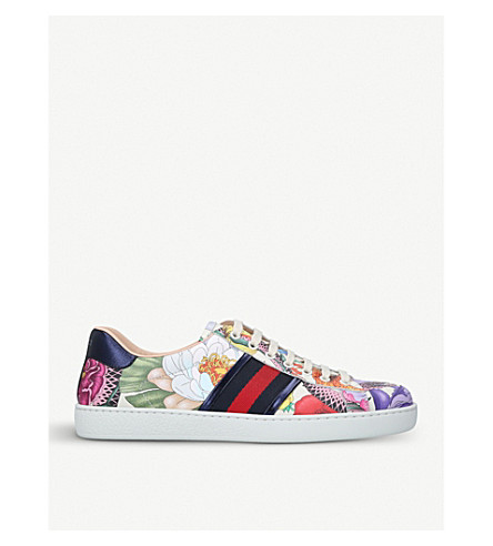 GUCCI New Ace Flora leather trainers (White/comb