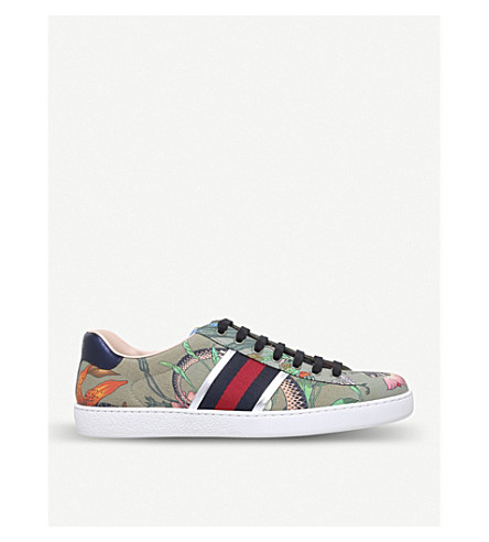 GUCCI New Ace Flora leather trainers (Khaki