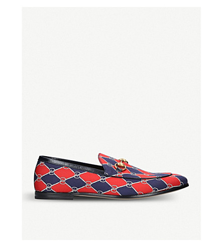 GUCCI New Jordaan chain fabric loafers (Black/comb