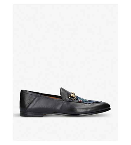 GUCCI Jordaan wolf-embroidered leather loafers (Blk/blue