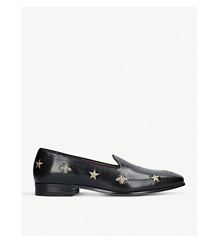 GUCCI Gallipoli bee leather loafers (Blk/other