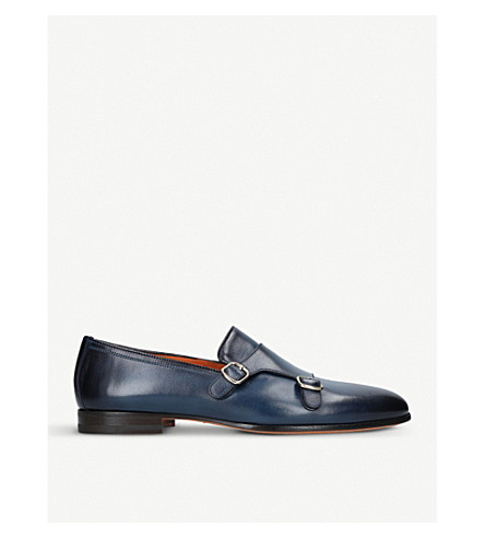 SANTONI Carlos double-strap leather monk shoes (Blue
