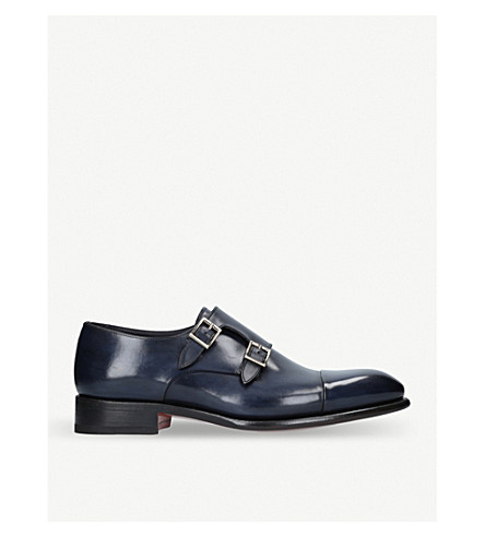 SANTONI Carter double-strap leather monk shoes (Blue