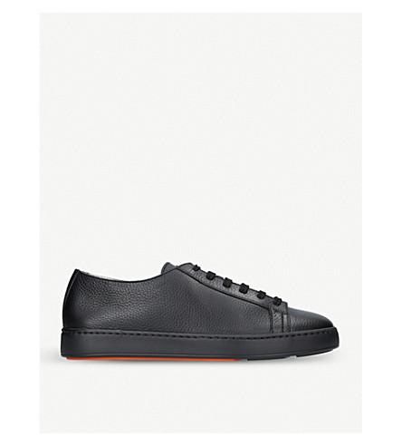 SANTONI 谷物革低帮运动鞋 (黑色