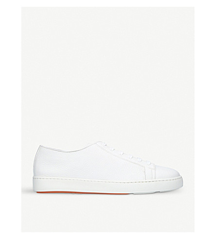 SANTONI Low-top leather trainers (White