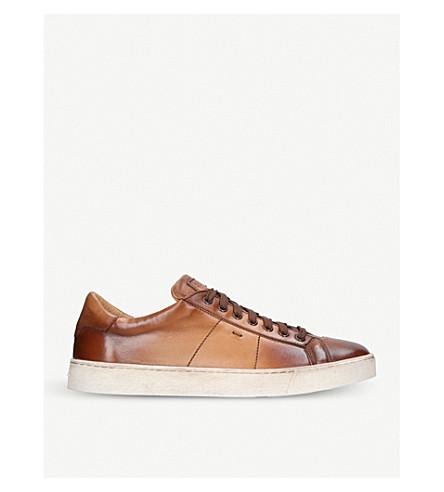 SANTONI 凯莱皮革低帮运动鞋 (棕褐色