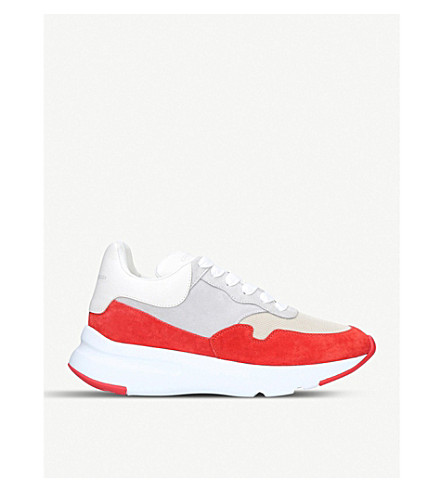 ALEXANDER MCQUEEN Runner suede-panelled leather trainers (White/red