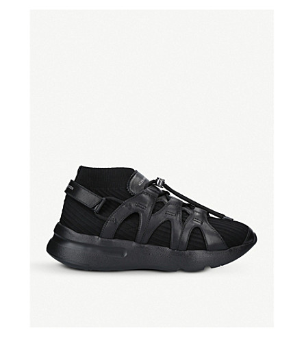 ALEXANDER MCQUEEN Runner leather-trimmed sock trainers (Black