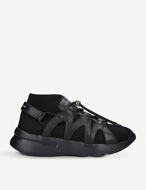 ALEXANDER MCQUEEN Runner leather-trimmed sock trainers