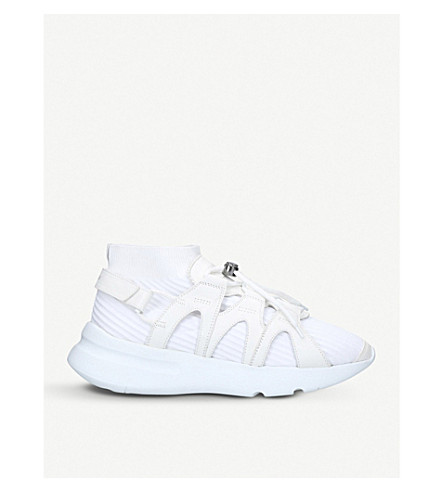 ALEXANDER MCQUEEN Runner leather-trimmed sock trainers (White