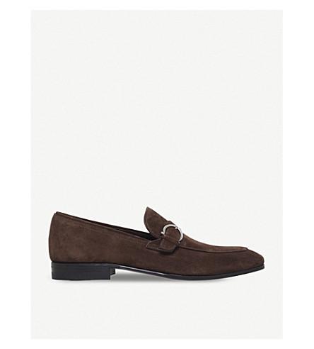 SALVATORE FERRAGAMO Capri gaucho-buckle suede moccasins (Brown
