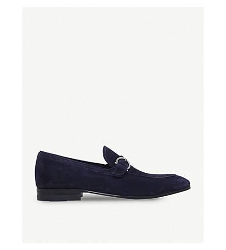 SALVATORE FERRAGAMO Capri gaucho-buckle suede moccasins (Blue