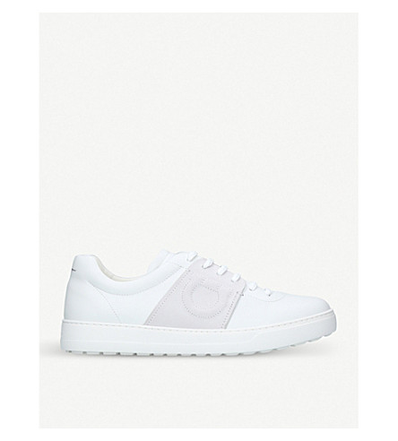 SALVATORE FERRAGAMO Gaucho leather trainers (White