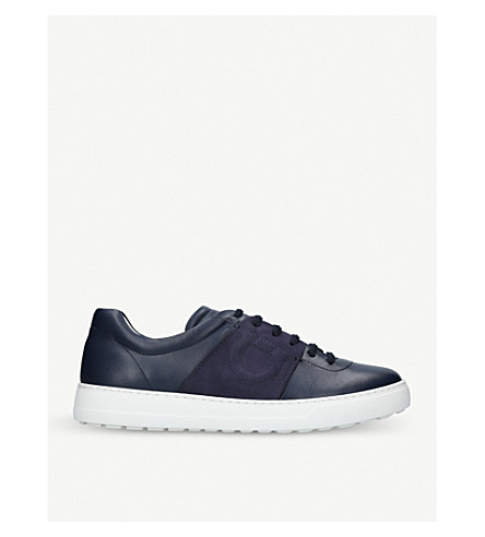 SALVATORE FERRAGAMO Gaucho leather trainers (Navy