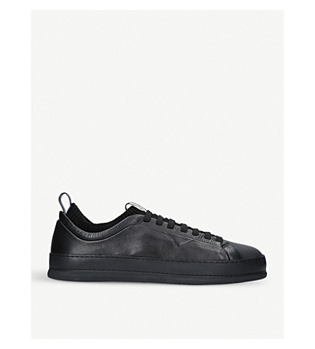 ERMENEGILDO ZEGNA Yacobo sock-trim leather trainers (Black